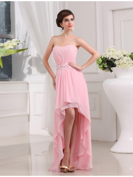 A-Line/Princess Sweetheart Sleeveless Beading Chiffon Asymmetrical Dress