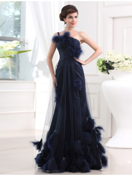 Trumpet/Mermaid One-Shoulder Sleeveless Feathers/Fur Satin Tulle Long Dress