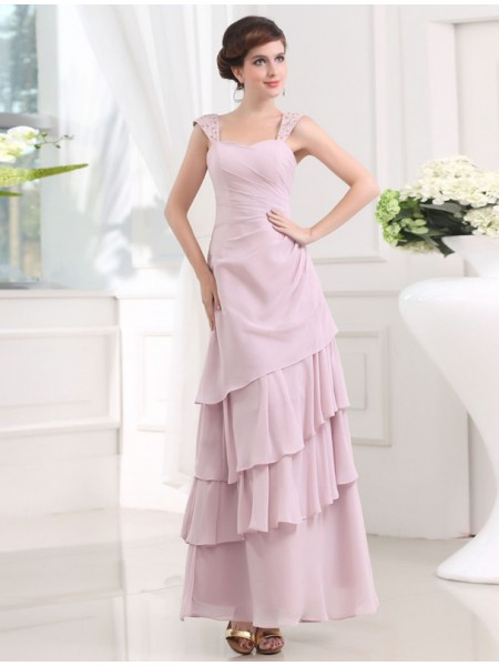 A-Line/Princess Straps Sleeveless Beading Layers Chiffon Ankle-Length Dress