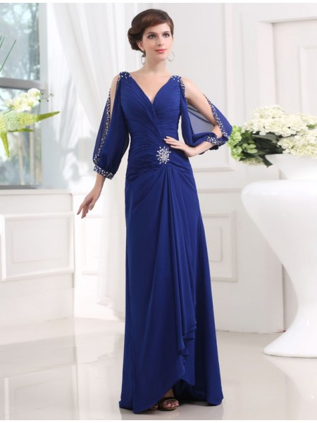 Sheath/Column V-neck 3/4 Sleeves Beading Chiffon Long Dress