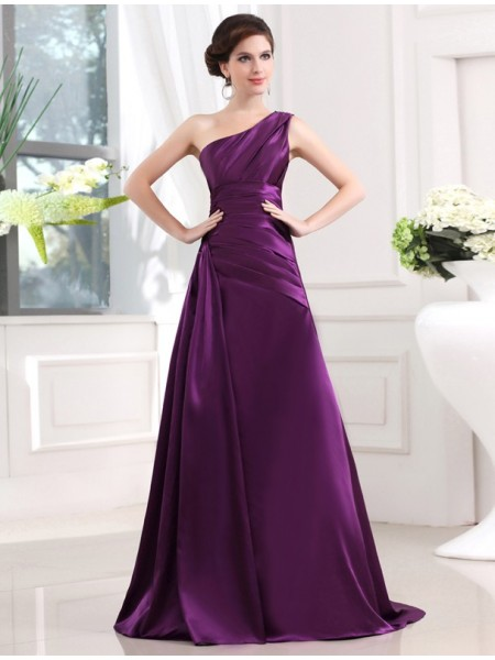 A-Line/Princess One-Shoulder Sleeveless Pleats Elastic Woven Satin Long Dress