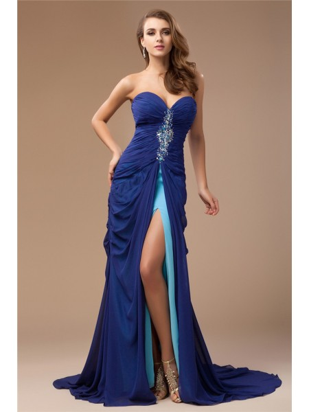 Sheath/Column Sweetheart Sleeveless Beading Chiffon Long Dress