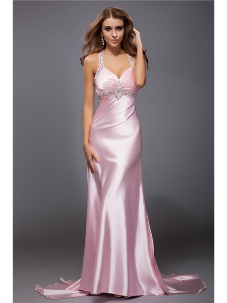 Sheath/Column Spaghetti Straps Sleeveless Beading Elastic Woven Satin Long Dress