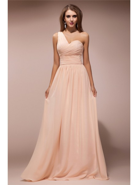 Sheath/Column One-Shoulder Sleeveless Ruffles Chiffon Long Dress