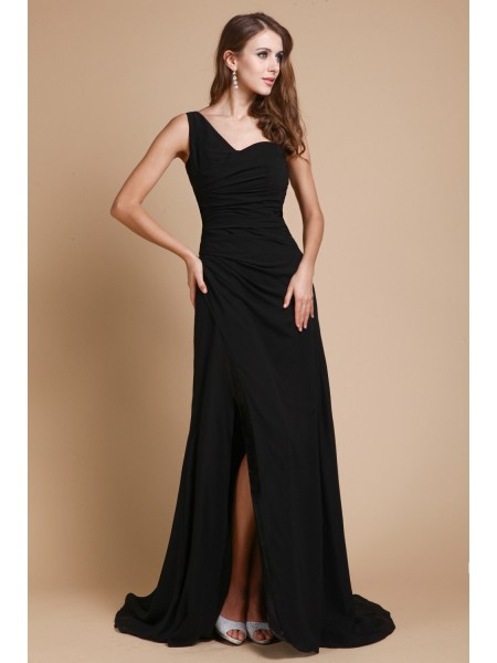 A-Line/Princess One-Shoulder Sleeveless Ruffles Chiffon Long Dress