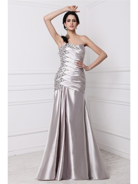 A-Line/Princess Sweetheart Sleeveless Pleats Beading Elastic Woven Satin Long Dress