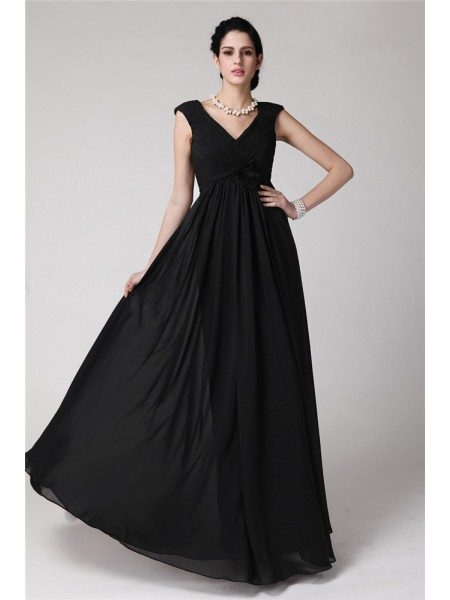 Sheath/Column V-neck Sleeveless Pleats Chiffon Long Dress