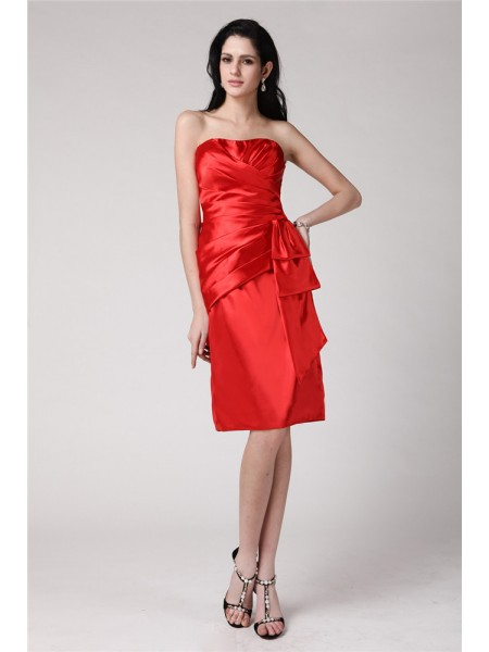Sheath/Column Strapless Sleeveless Pleats Elastic Woven Satin Knee-Length Dress
