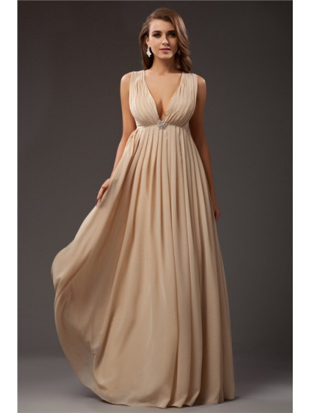 A-Line/Princess V-neck Sleeveless Beading Chiffon Long Dress