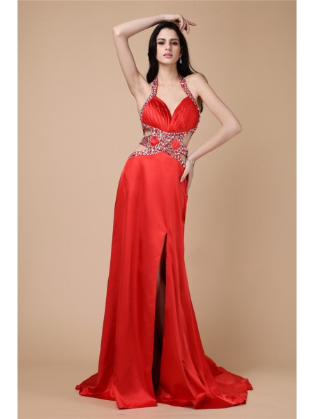 Sheath/Column Halter Sleeveless Beading Elastic Woven Satin Long Dress