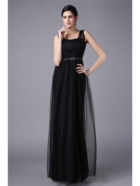 Sheath/Column Straps Sleeveless Sash/Ribbon/Belt Net Long Dress