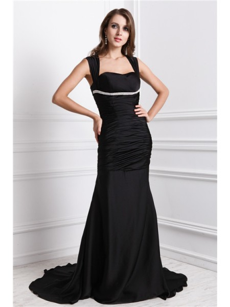 Trumpet/Mermaid Straps Sleeveless Beading Charmeuse Long Dress
