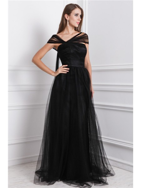 A-Line/Princess Bateau Sleeveless Ruffles Net Long Dresses