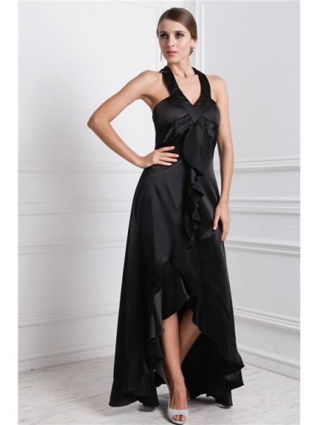 A-Line/Princess Bateau Sleeveless Ruffles Silk like Satin Asymmetrical Dress