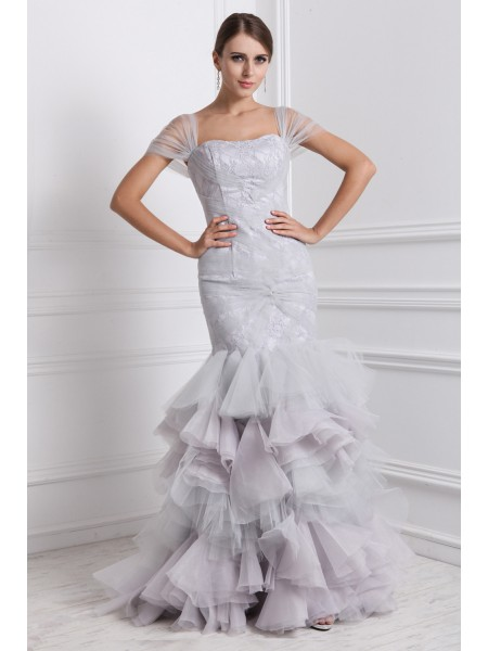Trumpet/Mermaid Straps Short Sleeves Ruffles Organza Long Dress
