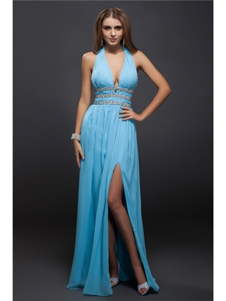 Sheath/Column V-neck Sleeveless Beading Chiffon Long Dress