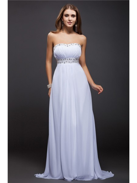 Sheath/Column Strapless Sleeveless Beading Chiffon Long Dress