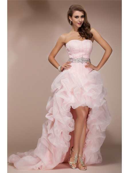 A-Line/Princess Sweetheart Sleeveless Beading Organza Asymmetrical Dress