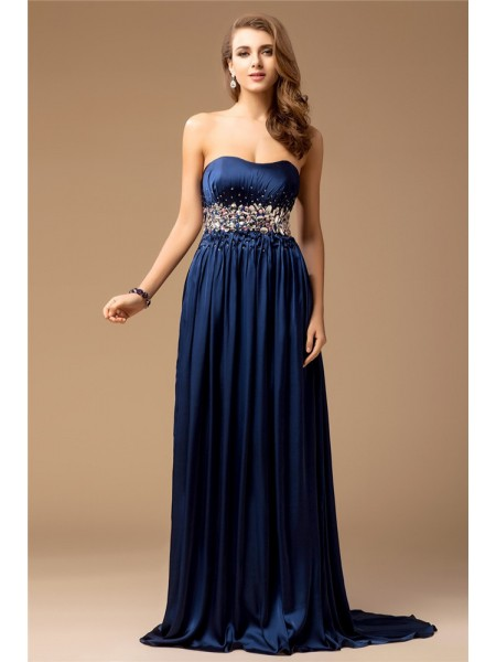 Sheath/Column Strapless Sleeveless Rhinestone Silk like Satin Long Dress