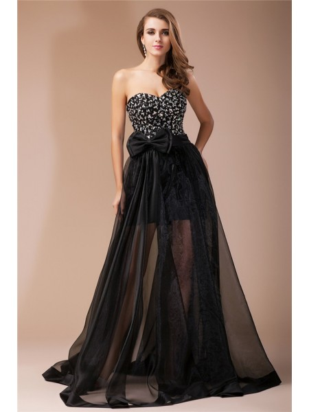 Sheath/Column Sweetheart Sleeveless Beading Elastic Woven Satin Organza Long Dress