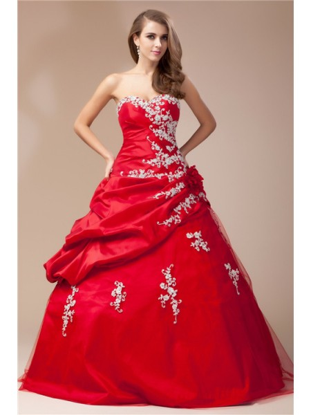 Ball Gown Sweetheart Sleeveless Beading Lace Taffeta Net Long Dress