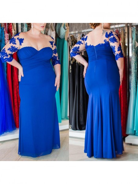 Sheath/Column Sweetheart Applique Floor-Length Chiffon Plus Size Dress