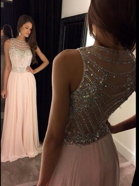 A-Line/Princess Sleeveless Scoop Chiffon Crystal Long Dresses
