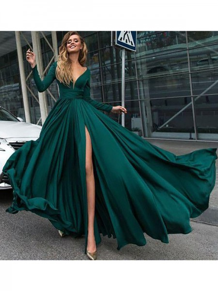 A-Line/Princess V-Neck Long Sleeves Ruffles Long Satin Chiffon Dress