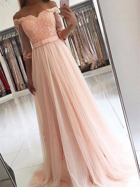A-Line/Princess Off-the-Shoulder 3/4 Sleeves Sash/Ribbon/Belt Long Tulle Dress