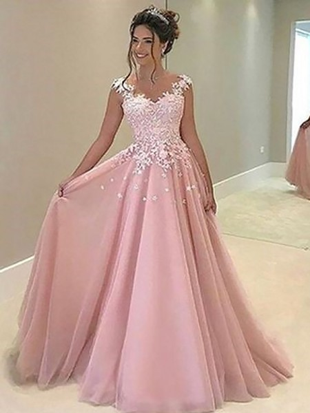 A-Line/Princess Sweetheart Sleeveless Applique Long Tulle Dress