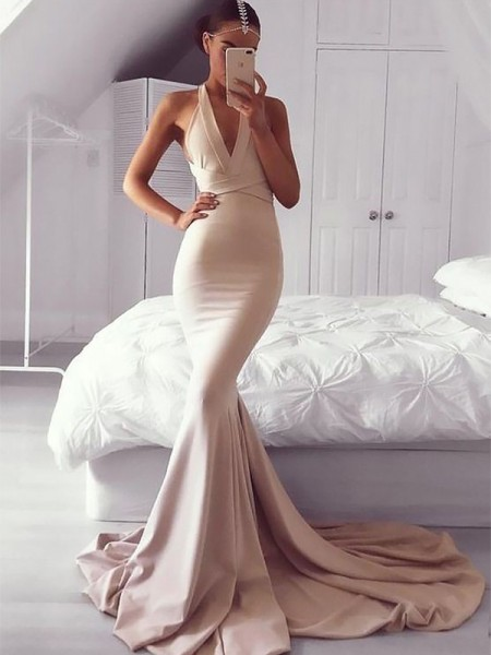 Trumpet/Mermaid V-neck Sleeveless Ruffles Long Spandex Dress