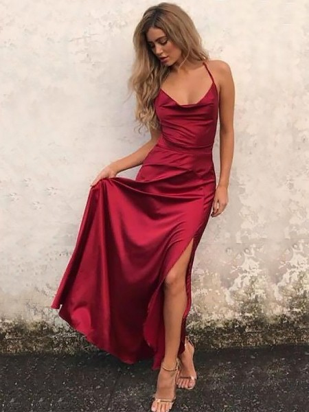 A-Line/Princess Spaghetti Straps Sleeveless Ruffles Long Elastic Woven Satin Dress