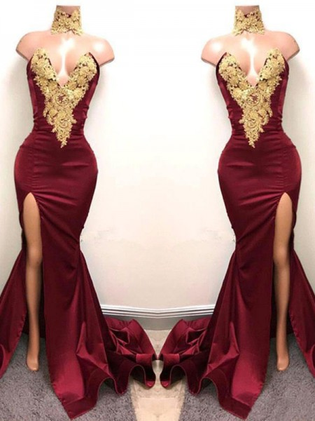 Trumpet/Mermaid Sweetheart Sleeveless Applique Long Satin Dress