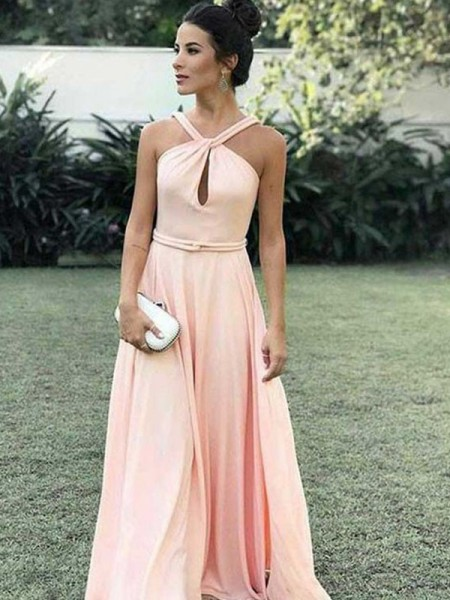 A-Line/Princess Halter Sleeveless Ruffles Long Chiffon Dress