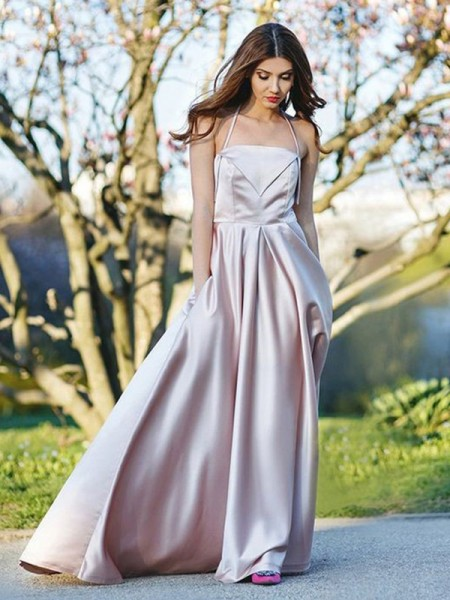 A-Line/Princess Halter Sleeveless Ruffles Long Satin Dress