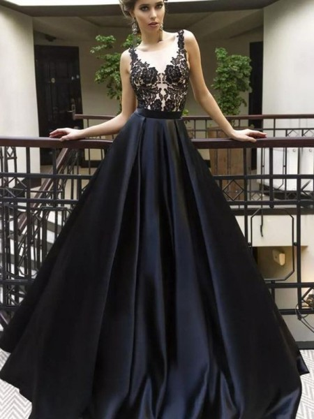 A-Line/Princess Sheer Neck Sleeveless Applique Long Satin Dress