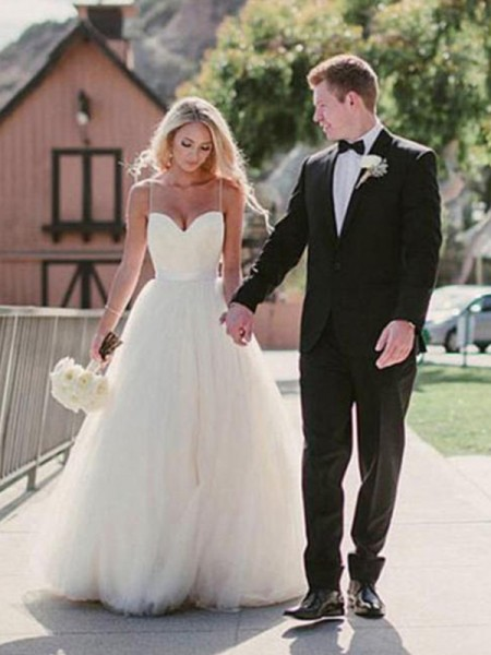Ball Gown Sleeveless Sash Sweetheart Tulle Long Wedding Dress