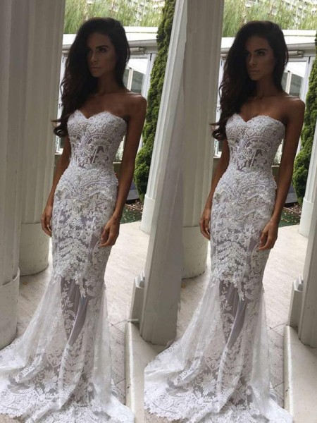 Trumpet/Mermaid Sleeveless Applique Sweetheart Lace Court Train Wedding Dress