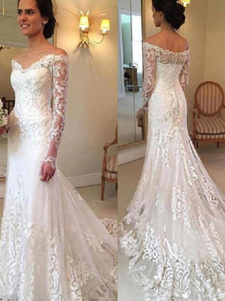 Trumpet/Mermaid Long Sleeves Applique Off-the-Shoulder Lace Court Train Wedding Dress