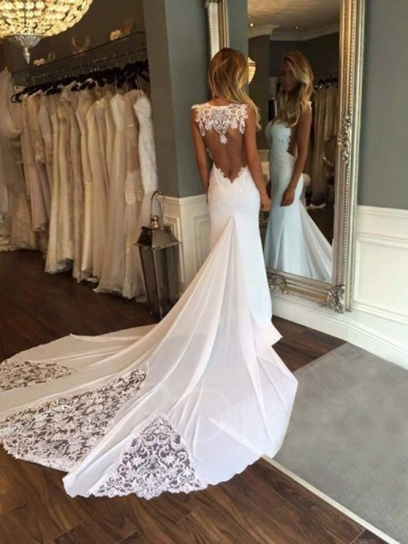 Trumpet/Mermaid Sleeveless Applique Sweetheart Lace Long Wedding Dress