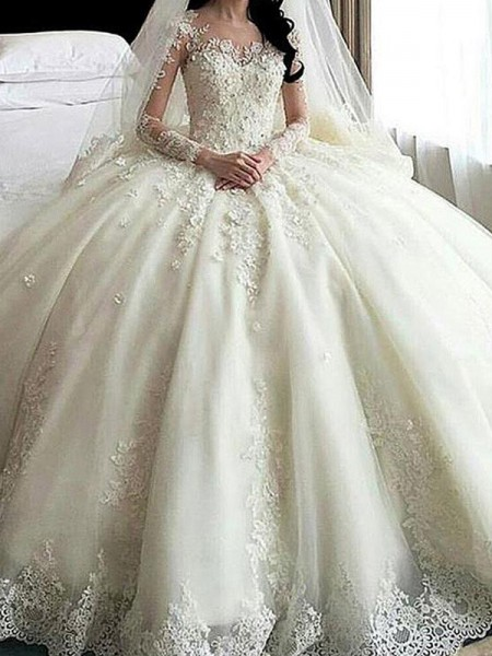 Ball Gown Long Sleeves Applique Scoop Tulle Long Wedding Dress