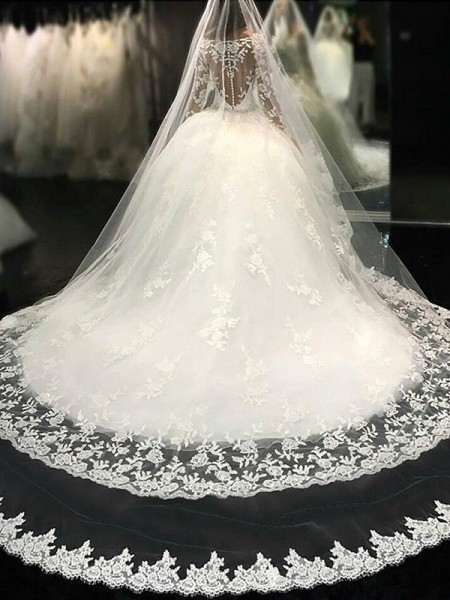 Ball Gown Long Sleeves Scoop Tulle Long Wedding Dress