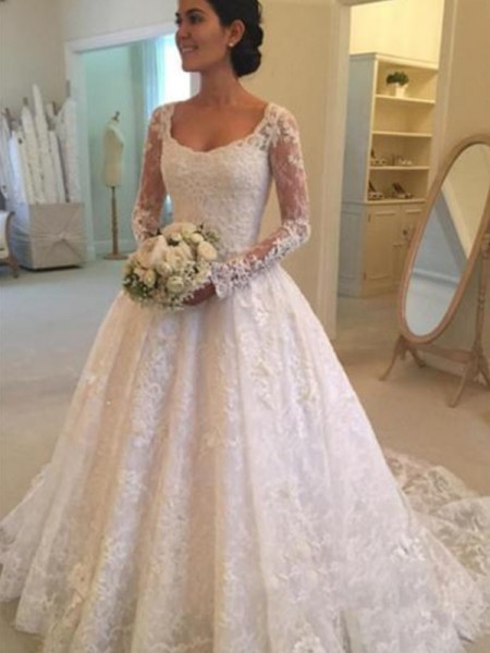 Ball Gown Long Sleeves Ruffles Scoop Lace Long Wedding Dress