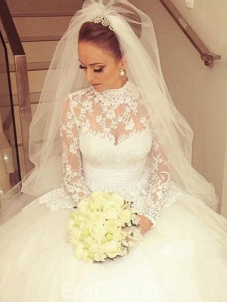 Ball Gown Long Sleeves High Neck Lace Long Wedding Dress