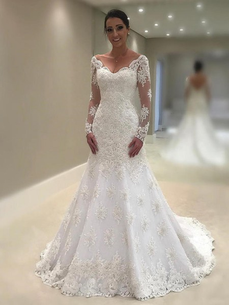 Trumpet-Mermaid Long Sleeves Applique V-neck Lace Court Train Wedding Dress
