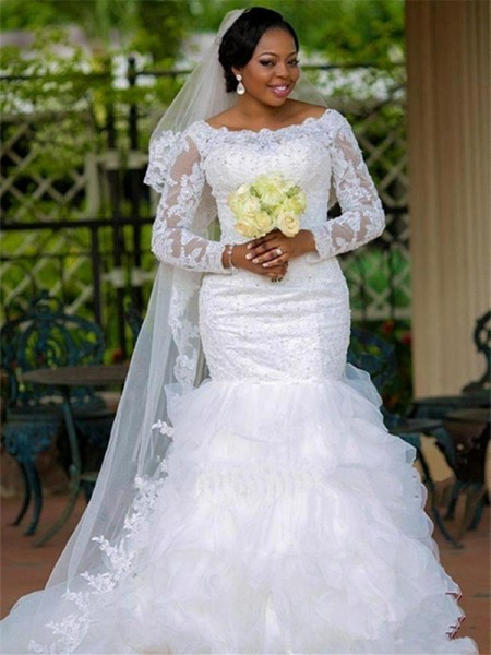 Ball Gown Long Sleeves Applique Scoop Tulle Chapel Train Wedding Dress