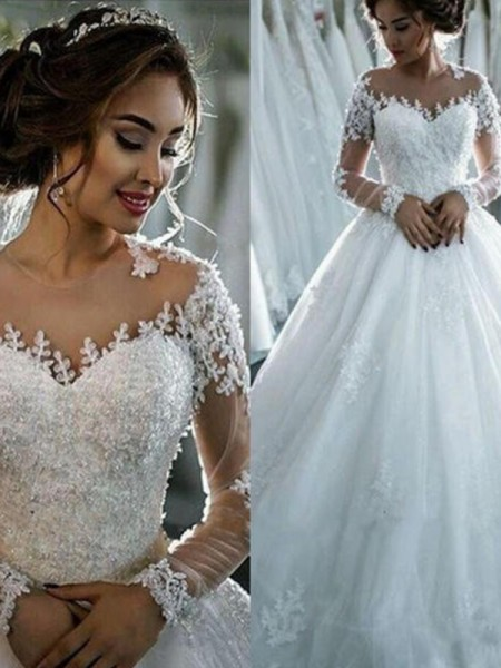 Ball Gown 3/4 Sleeves Beading Bateau Tulle Court Train Wedding Dress