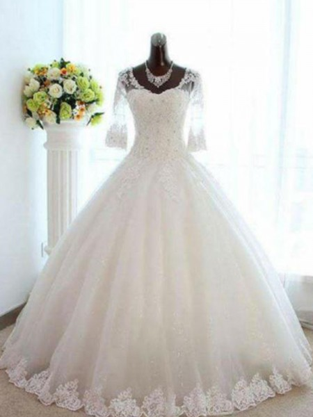 Ball Gown 3/4 Sleeves Beading Bateau Tulle Long Wedding Dress