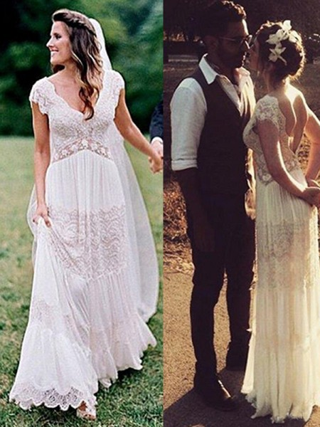A-Line/Princess Short Sleeves Ruched V-neck Lace Long Wedding Dress