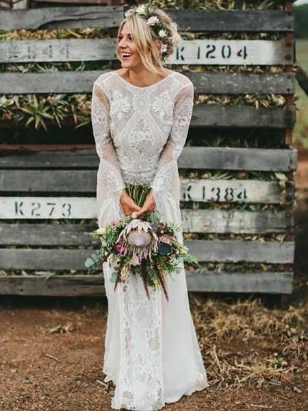 Sheath/Column Long Sleeves Ruched Scoop Lace Long Wedding Dress